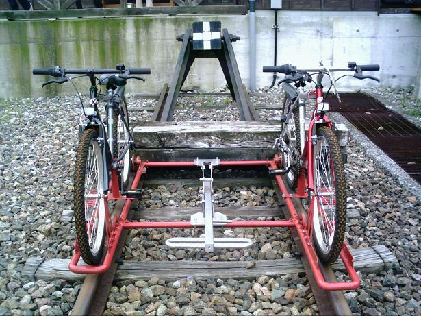 自転車でレールの上を走る試み ...